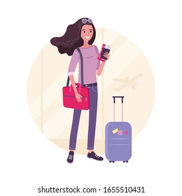Traveling young beautiful woman with luggage in the airport before flight, tourist girl holding tickets. Traveling concept, vector illustration in cartoon, flat style