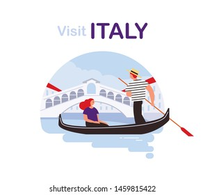 Traveller by landmarks. Woman sitting in gondola in Venice. Traveling around Italy.