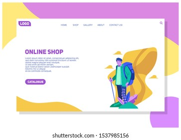 traveller exploring nature, hiking and enjoy the weather in the middle of the day in holiday landing page for online shopping website user interface