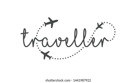 Traveller logo concept. Lettering traveler, with flying airplanes around the inscription. Flying plane along route, zigzag line. Airplane in the sky with text, vector template of sign.