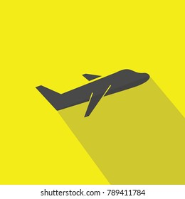 travelling aeroplane for transportation gray vector icon flying jet yellow background with flat shadow eps10