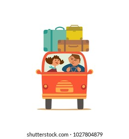 Travelling by car icon. Young happy travellers couple take a trip by minivan. Family go on microbus journey, summer vacation. Touring by auto. Cute fancy cartoon. Colorful humor vector illustration