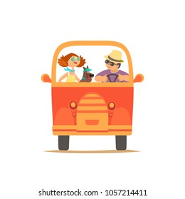 Travelling by car icon. Young happy travellers, dog pet take a trip by minivan. Family couple go on microbus journey. Summer vacation touring by auto. Cute cartoon. Colorful humor vector illustration