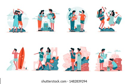 Travelling Couple and Backpackers Illustration Concept. Modern design concept of web page design for website and mobile website.Vector illustration EPS 10