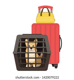 Travelling with dogs. Vector illustration of dog in a pet cage and suitcase on wheels. Carriage of dogs.