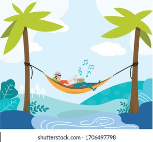 Travelling Hammock in Forest, person relaxing lying in hammock on the beach under palm trees vector