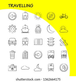 Travelling Hand Drawn Icon for Web, Print and Mobile UX/UI Kit. Such as: Toolbox, Box, Configuration, Setting, Settings, Gear, Maintain, Setting, Pictogram Pack. - Vector