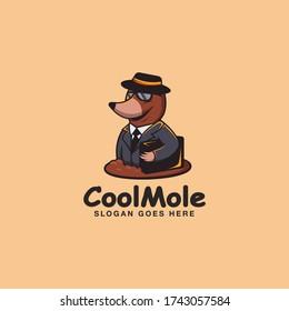 Travelling mole cartoon mascot logo vector template on light background - Shutterstock ID 1743057584
