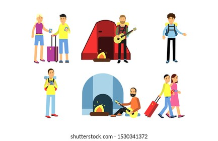 Travelling People During Vacation Vector Illustration Set Isolated On White Background