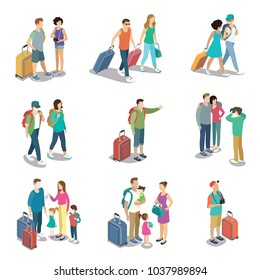 Travelling people isometric 3D icons. Family with childrens and baggage, tourist with travel bag and camera, young couple with backpacks. Active recreation, hiking and adventures vector illustration.