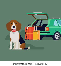 Travelling with pets by car concept vector illustration with beagle dog sitting in front of suitcases and open car trunk. Travel with a dog concept visual
