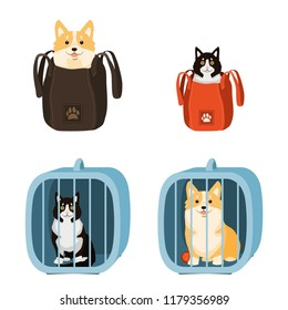Travelling with pets. Vector illustration of dog and cat in a bag and pet cage, carriage of dogs and cats.