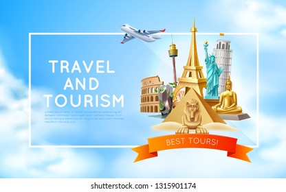 Travelling and tourism poster design. Vector best tours promotion with famous world landmarks on sky background. Pyramids, sphinx, eiffel tower, Libery statue, Thailand Buddha and flying plane