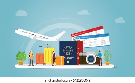 travelling or travel holiday concept with tourist and plane with passport and ticket with modern flat style - vector