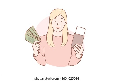 Travelling, vacation, tourism concept. Young woman tourist bought flight ticket, goes to travel abroad. Adventurous girl traveler flies with tickets to other country on vacation. Simple flat vector