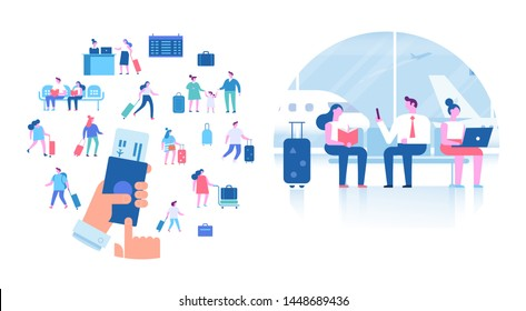 Travelling, vactaion. People sitting and walking in airport terminal. Infographics elements, banner or poster design arranged in circle shape. Hand with airplane ticket.  Flat vector illustration.