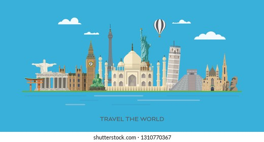 Travelling to world famous landmarks vector banner illustration