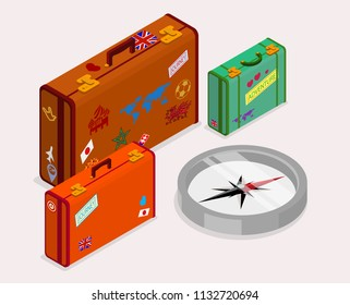 Travels background with luggage. Colorful suitcases and compas on white background. Isometric illustration. Vector 3d design.