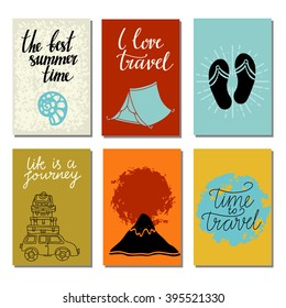 Travels card design set isolated, seashell, tent, flip flop sandals, mount fuji, sun, car,  calligraphic text, handwriting
