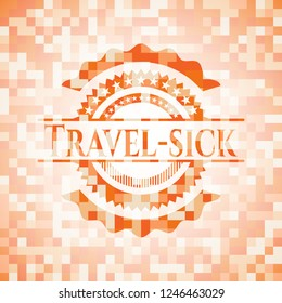 Travel-sick abstract orange mosaic emblem with background