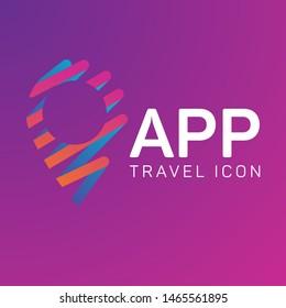 Travle logo concept, map pin icon
