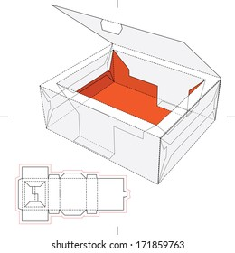 Tray Box with Rim Lid and Blueprint Layout