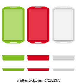 A tray for eating, a set of trays for eating. Flat design, vector illustration, vector.