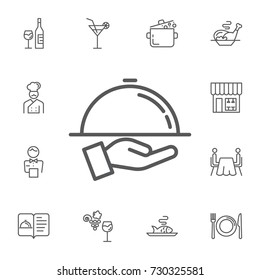 Tray on the hand icon on the white background. Simple Set of restaurant Vector Line Icons.