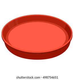 Tray. Red, round and empty serving tray with border for beer or food. Isolated on white background.