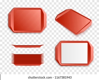 Tray Salver set isolated. Vector Red Plastic trays vector mockup