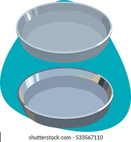Tray. Two clean metallic and aluminum round trays. Shiny tray with empty space and rim. Isolated on aquamarine background.