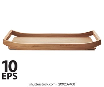 Tray. Wooden, isolated. Vector illustration