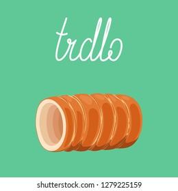 Trdelnik - traditional european spit cake (trdlo, kurtoskalacs, baumkuchen). European street food. Vector hand drawn illustration.