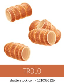 Trdelnik vector illustration. Traditional national Czech dessert, European street food illustration. Set of detailed icons of Prague bakery isolated on white background. Street food menu template.