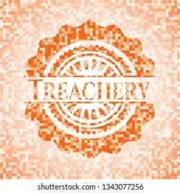 Treachery abstract orange mosaic emblem with background