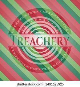 Treachery christmas colors emblem. Vector Illustration. Detailed.