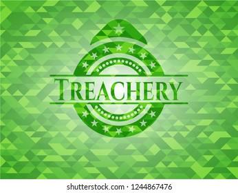 Treachery green emblem with triangle mosaic background