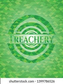 Treachery green mosaic emblem. Vector Illustration. Detailed.