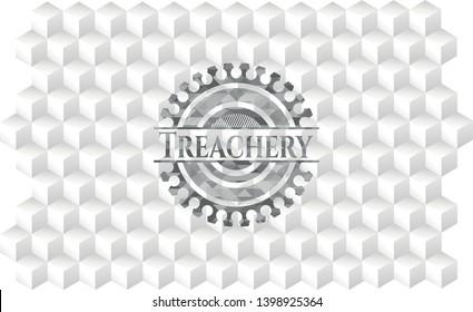 Treachery grey badge with geometric cube white background