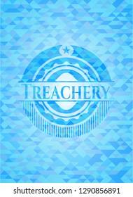 Treachery light blue emblem with mosaic background