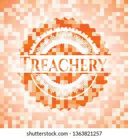 Treachery orange tile background illustration. Square geometric mosaic seamless pattern with emblem inside.