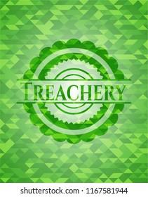 Treachery realistic green emblem. Mosaic background