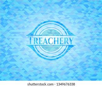 Treachery realistic light blue mosaic emblem