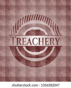 Treachery red emblem with geometric pattern background. Seamless.