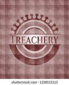 Treachery red geometric pattern emblem. Seamless.