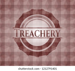Treachery red seamless badge with geometric pattern background.