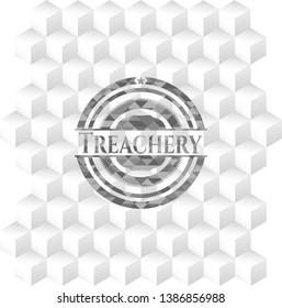 Treachery retro style grey emblem with geometric cube white background