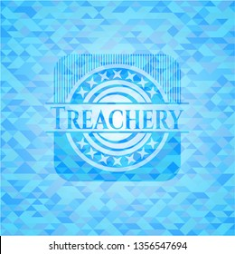 Treachery sky blue emblem with mosaic ecological style background