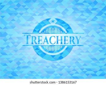 Treachery sky blue emblem. Mosaic background