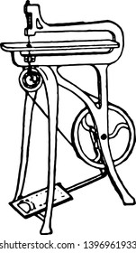Treadle Fret Saw, It is a type of Fret Saw and its used in a Miscellaneous Crafts, vintage line drawing or engraving illustration.